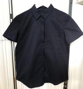 Темно-синяя рубашка с коротким рукавом La Redoute