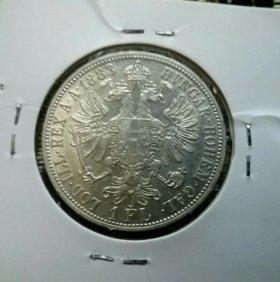 1 флорин 1883 года серебро