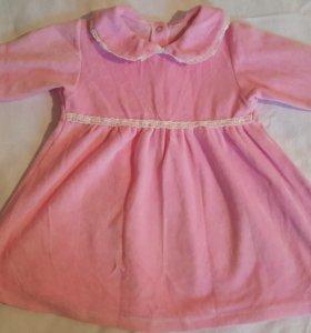 Велюровое платье на девочку 74-80 размер