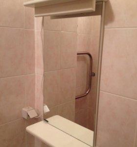 Зеркало для ванной с полочкой и подсветкой