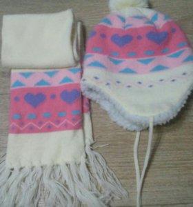Теплая шапка и шарф