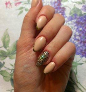 Укрепление ногтей гелем+дизайн маникюр