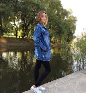 Куртка джинсовая удлиненная