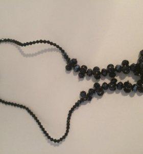 Ожерелье из натурального камня (оникс)