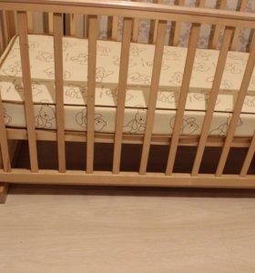 Детская кроватка маятник+матрац