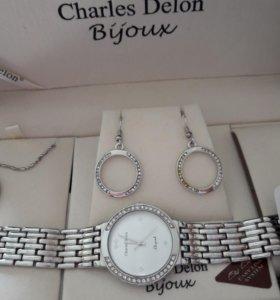 Часы с сережками и кулоном