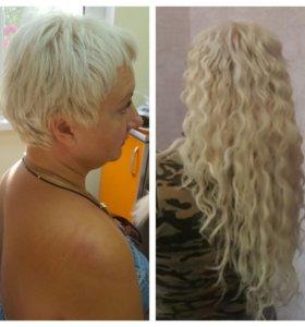 наращивание натуральных волос на короткий волос