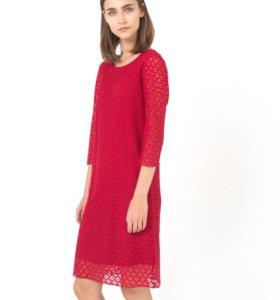Новое ярко-красное кружевное платье 58 р-р