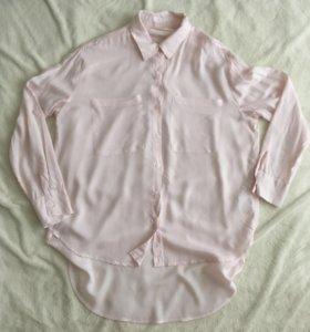 Нежно-розовая удлиненная рубашка