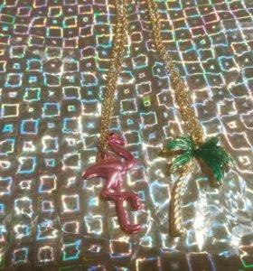 Цепочка кулон для девочки фламинго и пальма лето