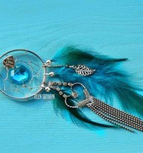 Подвеска новая ловец снов голубой бирюзовый кулон