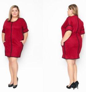 Новое темно-красное платье под замшу 56 р-р