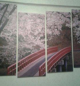 """Модульная картина """"Мост в цветущем лесу"""""""
