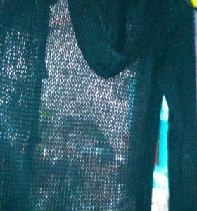 Длиная вязаная накидка с капюшоном nafnaf