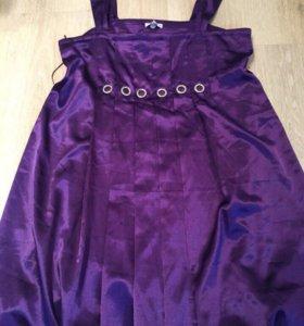 Атласное фиолетовое платье со сваровски оригинал
