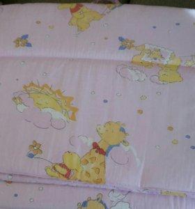 Бортики в кроватку + постельное белье