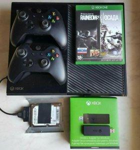 Xbox one 500Gb, 2 пада, жесткий диск, ресивер