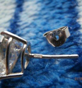 Серьги-пуссеты серебро 925