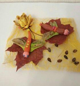 Стрекозы - поделка из семян клёна и пластилина в с