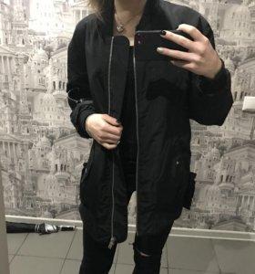 Бомбер чёрный oversize