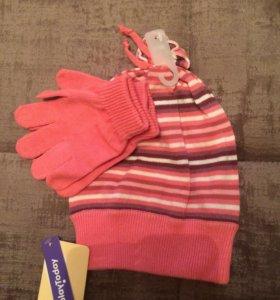 Комплект для девочек, шапка и перчатки новые
