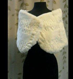 Свадебная белая натуральная меховая накидка