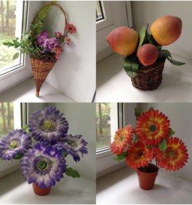 Искусственные цветы украшение декор корзина