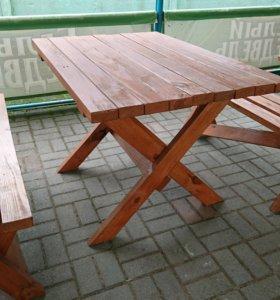 Столы деревянные с лавками