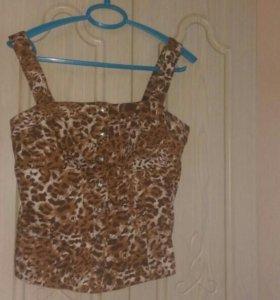 топик секси леопардовый,качетвенная ткань