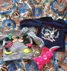 Детские свитшоты/кофты 68 размер