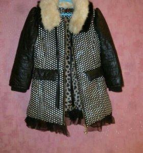 Пальто для девочки 7-9 лет