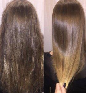 Керотиновое выпрямление, полировка волос