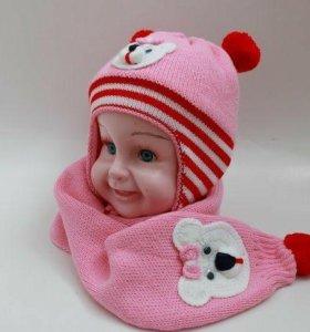 Шапка+шарф комплект на девочку