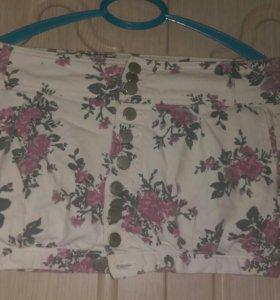 Джинсовая юбка на пуговицах мини бержка