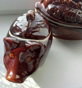 Глиняные горшочки для выпекания новые