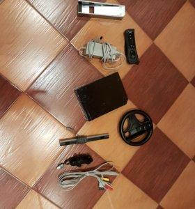 Nintendo Wii +гитара и диски