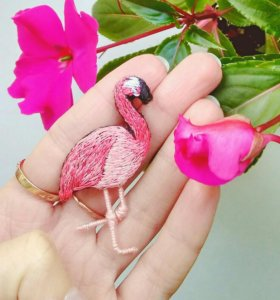 """Брошь ручной работы """"Розовый фламинго"""""""