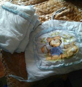 Кроватка, бортики, матрас, балдахин