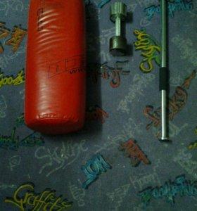 Боксерская груша в комплекте с турником и гиряй