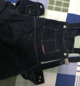 Утеплённый джинсовый комбинезон для беременных