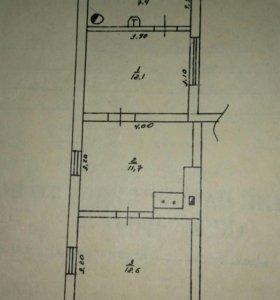 Квартира, 3 комнаты, 43.6 м²
