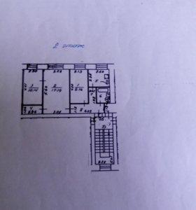Квартира, 3 комнаты, 54.5 м²