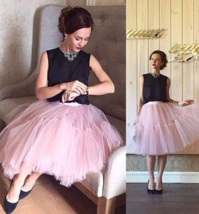 Нежно- розовая супер пышная юбка - пачка из фатина