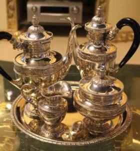 Сервиз кофейный серебрянный