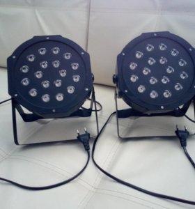 Профессиональный светильник LED PAR RGB 18*3w 2шт