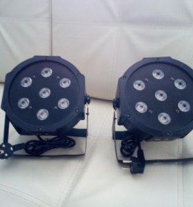 Профессиональный светильник LED PAR rgbw 7*12 2шт