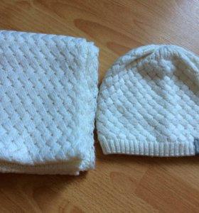 Зимний комплект, снуд вязанный и шапка.
