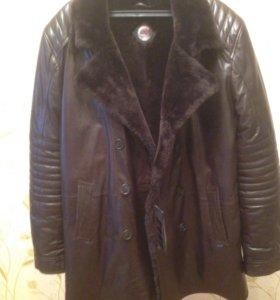 Натуральная кожаная куртка плащ
