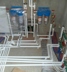 Монтаж системы отопления, водоразборка канализации