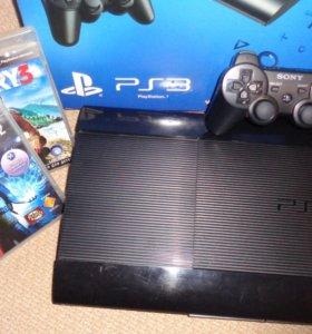 Продам PS3 super slim 500gb+2 игры